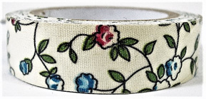 Fabric Adhesive Tape - Flowers on Cream: Pink & Blue