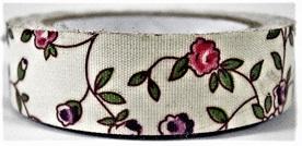Fabric Adhesive Tape - Flowers on Cream: Pink & Purple
