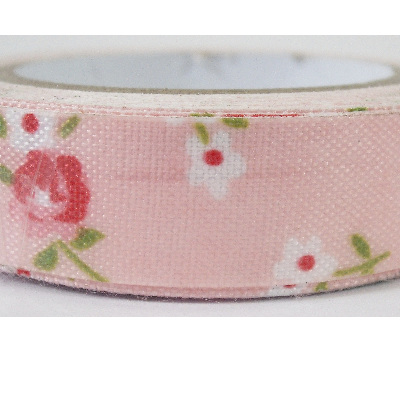 Fabric Adhesive Tape - Flowers on Light Coral Pink Background