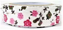 Fabric Adhesive Tape - Fun Flowers: Pink & Green
