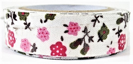 Fabric Adhesive Tape Fun Flowers: Pink & Green CLEARANCE