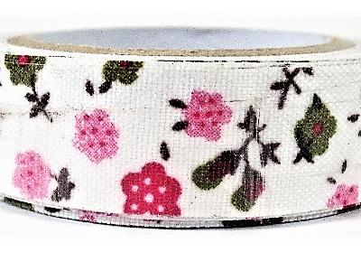Fabric Adhesive Tape Fun Flowers: Pink & Green CLEARANCE