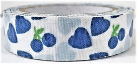 Fabric Adhesive Tape Hearts and Berries: Blue CLEARANCE