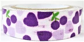 Fabric Adhesive Tape - Hearts and Berries: Purple