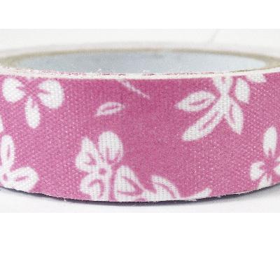 Fabric Adhesive Tape - Pink & White Hibiscus