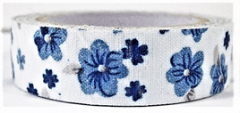 Fabric Adhesive Tape Porcelain Blue Flowers