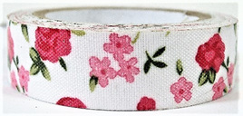 Fabric Adhesive Tape Pretty Pink & Red Flowers