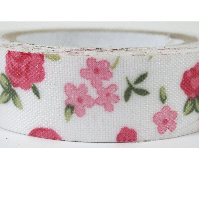 Fabric Adhesive Tape - Pretty Pink & Red Flowers on White Background