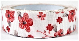 Fabric Adhesive Tape Red Flowers on White Background