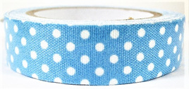 Fabric Adhesive Tape Retro Polka Dots: Blue & White