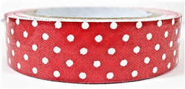 Fabric Adhesive Tape Retro Polka Dots: Red & White