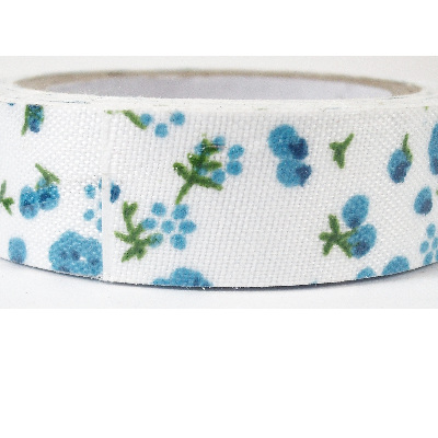 Fabric Adhesive Tape - Turquoise Blue Flowers