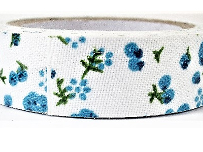 Fabric Adhesive Tape Turquoise Flowers