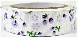 Fabric Adhesive Tape Vintage Flowers and Berries: Purple