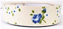 Fabric Adhesive Tape Vintage Flowers on Cream Background: Blue