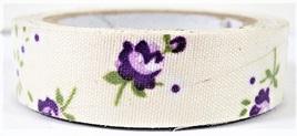 Fabric Adhesive Tape Vintage Flowers on Cream Background: Purple