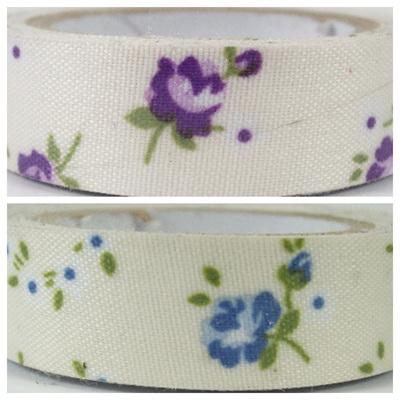 Fabric Adhesive Tape - Vintage Flowers on Cream Background