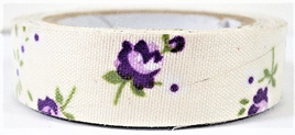 Fabric Adhesive Tape Vintage Flowers on Cream Background: Purple