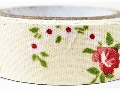 Fabric Adhesive Tape Vintage Flowers on Cream Background: Red