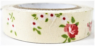 Fabric Adhesive Tape - Vintage Flowers: Red