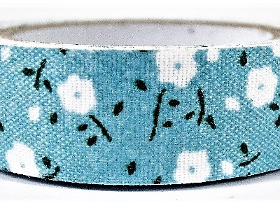 Fabric Adhesive Tape White Daisies on Blue Background