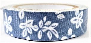Fabric Adhesive Tape - White Flowers: Blue Background