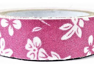 Fabric Adhesive Tape White Flowers: Bright Pink Background
