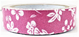 Fabric Adhesive Tape White Flowers: Bright Pink Background