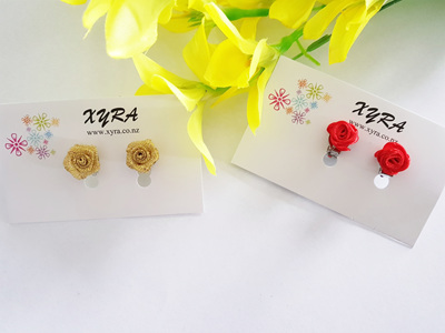 Fabric Rose Clip-on Earrings - available in gold and red