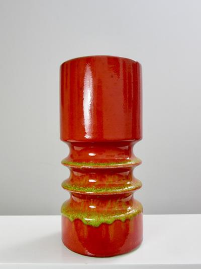 Fabulous Space Age Orange West German Pottery Vase