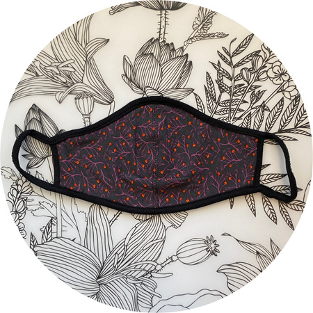 Face Mask Aubergine & Charcoal Floral