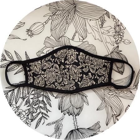 Face Mask Black & Cream Design