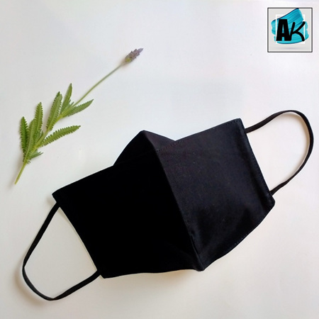 Face Mask - Large Black - with Nose Gusset for Glasses & Toggles