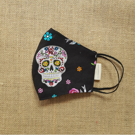 Face Mask Large Floral Day of the Dead Print
