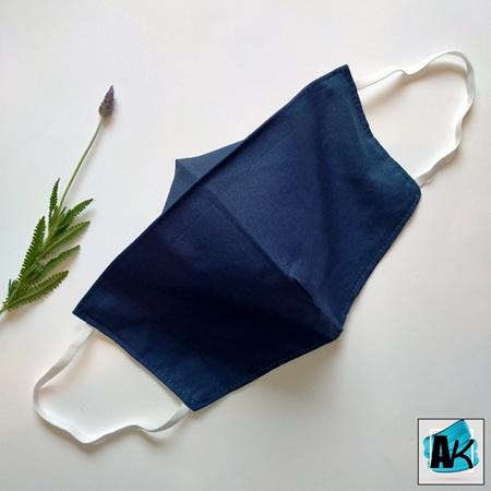 Face Mask - Medium Denim Blue - with Nose Gusset for Glasses