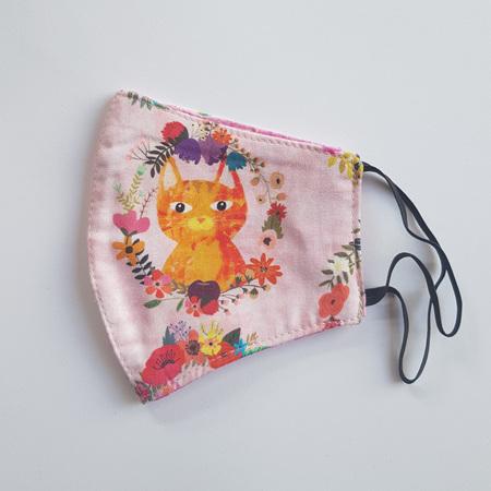 Face Mask Medium Pink Cat Print