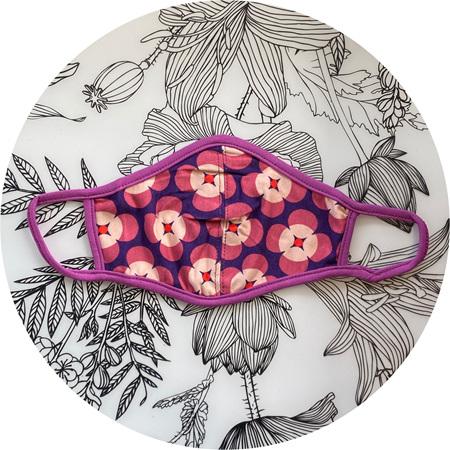 Face Mask Pink & Purple Retro Floral