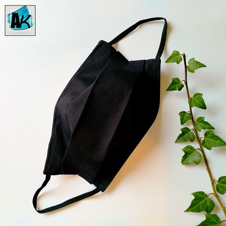 Face Mask - Small Black - Side Pleated