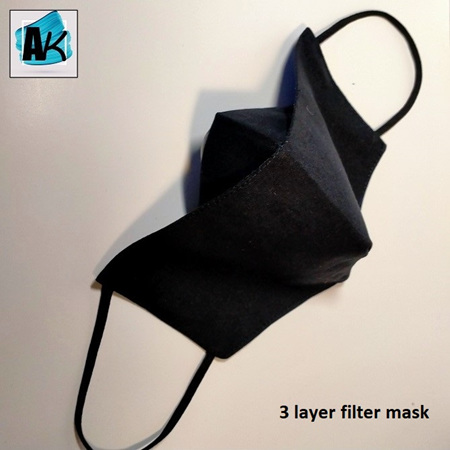 Face Mask with Filter - Large Black - with Nose Gusset for Glasses