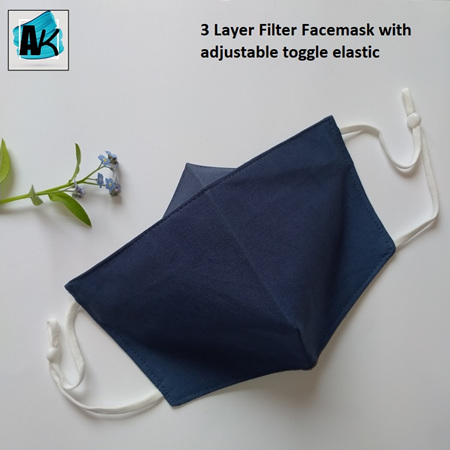 Face Mask with Filter - Large Denim Blue  - with Nose Gusset for Glasses and Toggles