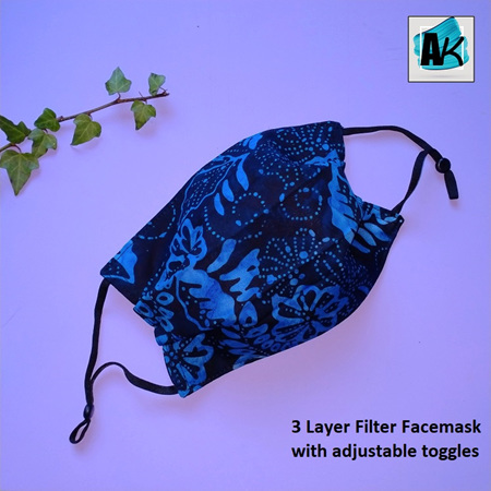 Face Mask with Filter - Medium Batik Blue - side pleated with Toggles