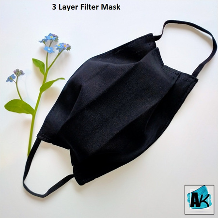 Face Mask with Filter - Medium Black - Side Pleated