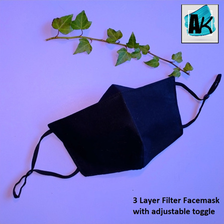 Face Mask with Filter - Medium Black - with Nose Gusset for Glasses and Toggles