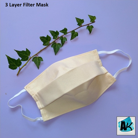 Face Mask with Filter - Medium Ivory - Side Pleated