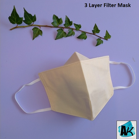 Face Mask with Filter - Medium Ivory - with Nose Gusset for Glasses