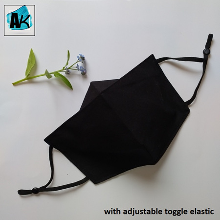 Face Mask - XL Black - with Nose Gusset for Glasses & Toggles