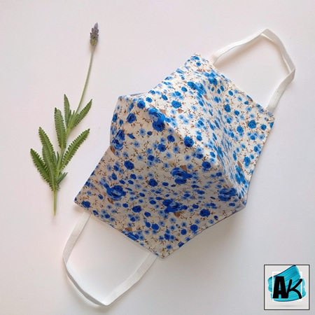 Face Mask - XL Floral - with Nose Gusset for Glasses