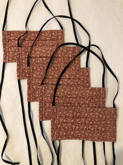 Face masks - Pack of 5 rust flower
