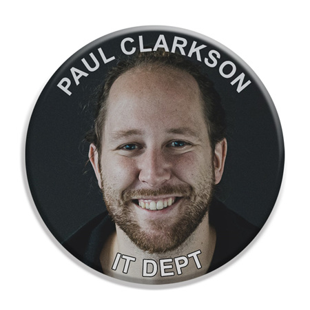 Face with Text at Top and Base ID Badge