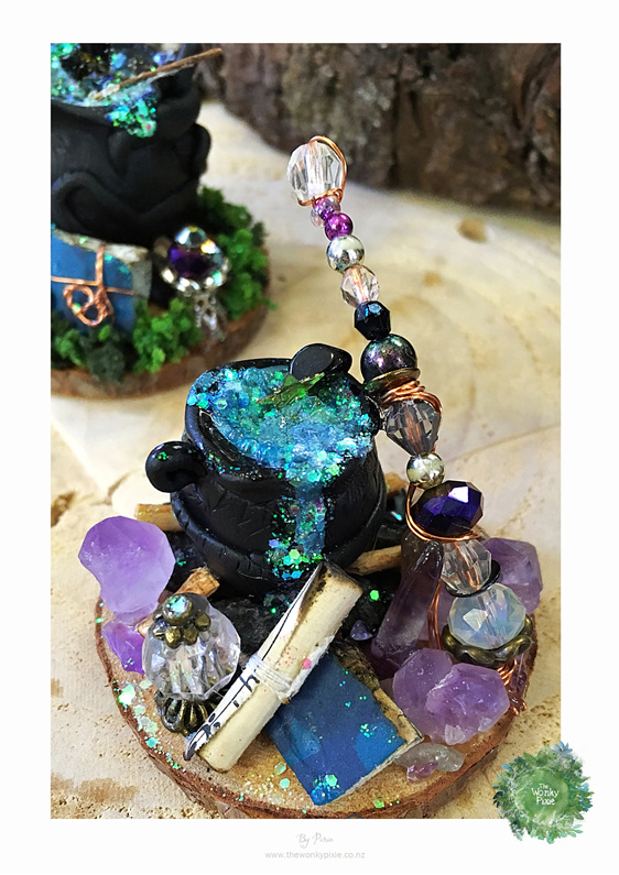 Faery, Fairy, Witches Cauldron, Miniatures, Fairy Art, The Wonky Pixie NZ, NZ